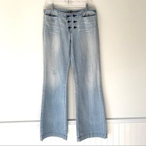 7 For All Mankind Sailor Button Wide Flare Jeans